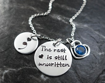 Semicolon Jewelry / Charm Necklace / Semicolon Necklace / Suicide Awareness / Personalized / The rest is still unwritten / Hand Stamped