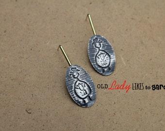 gardener gift,gardener jewellery,silver artisan earrings,sterling silver and brass modern stud earrings,character jewelry,gardener earrings