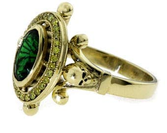 Green Tourmaline with Skulls Ring