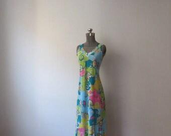 Vintage '70s Pucci-Esque Print Bias Cut, Slinky, Stretchy Full Length Tank Dress, Medium
