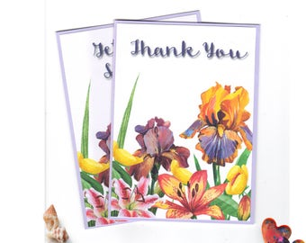 Pack of 2 cards, Thank you Card, Get Well Card, Flower Cards, Value Pack, Handmade Cards