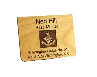 Masonic Past Master Wooden Name Tag / Badge