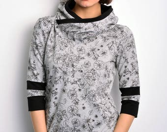 grey hoodie buttons flowers by STADTKIND
