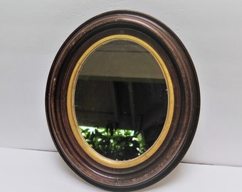 Antique Oval Wood Framed Mirror 12 x 14 Dark wood with gold trim