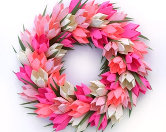 Pink Tulip Easter Spring Wreath,  Mother's Day Wreath, Easter Wreath