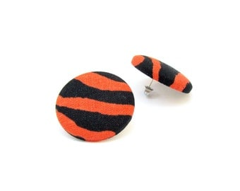 Large animal print fabric earrings - tiger button earrings - orange black stud earrings tangerine