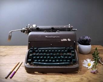 Vintage Typewriter Remington with Green Keys; Industrial Vintage Rustic Decor