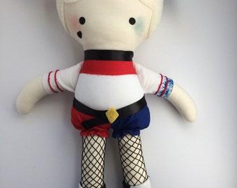 Harley Quinn - Handmade Doll - Cloth Doll - Geek Doll - Comic Book Doll - Pop Culture Doll - Fangirl