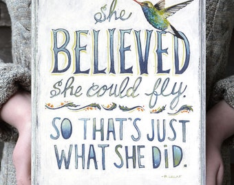 Grad Gift for Her, She Believed She Could Print, Bird Art with Inspirational Quote, Bird Art, Encouragement Gift, Inspirational Quotes Art