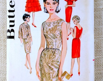 Butterick 2460 Vintage sewing pattern 1950s 1960s wiggle dress Mad Men tiered ruffled capelet cape formal overskirt Bust 32 Audrey Hepburn