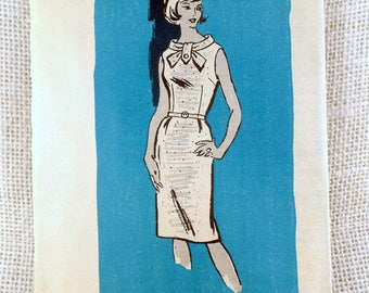 Vintage Pattern Anne Adams 4501 dress sewing belted collar Scarf Wiggle 1960s Rockabilly Bust 32 Bombshell Uncut