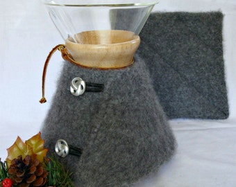 Chemex Sweater Cozy and Warming Pad-Repurposed Felted Cashmere -Fits 6 cup with wooden collar- OOAK