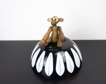Vintage Tiny Teak Monkey, Mid Century Modern Bojensen Zoo-Line Style Collectible Animal Figurine, Made to Hang with Movable Limbs 350015