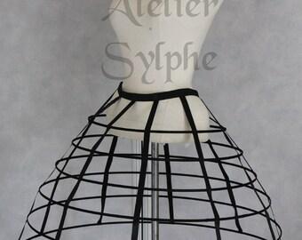 Black color hoop cage skirt long pannier 6 rows plastic boned crinoline