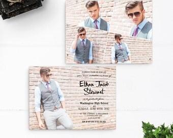 "College Graduation Announcement, High School Graduation Invitation, 5x7, Grad Party Invitation - the ""Ethan 2"""