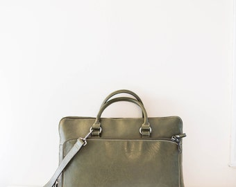 forest green leather laptop messenger cross body bag