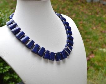 Lapis Lazuli and  Sterling Silver Statement Necklace, Genuine Gemstone, Bib Necklace, Collar Necklace