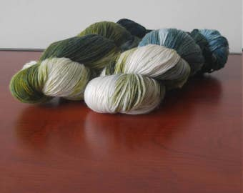 Hand Dyed Fingering Weight Superwash Merino Nylon Sock Yarn-Evergreen 462 yards