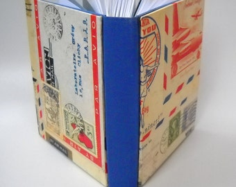 Airmail Hardcover Journal, Postal Journal, Handmade Journal, Mail Art Journal