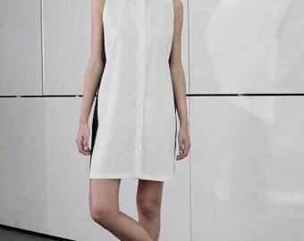 White sundress, stripes dress, summer dress, minimal Dress, collar short Dress, white shirt dress, buttoned down, loose fit, black stripes