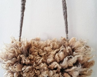 "felted crossbody bag fur purse clutch ""sheepskin"" Shetland sheep skin fleece Veronica A"