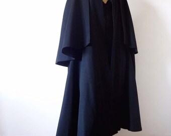 1970s Yves Saint Laurent Cape vintage YSL black wool poncho - designer vintage swing coat