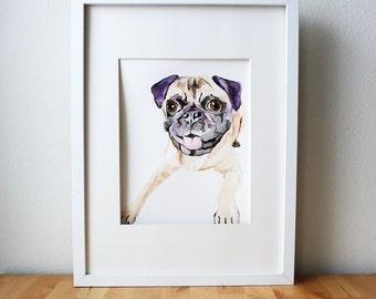 Custom Pet Portrait, Original Watercolor - 1 pug dog