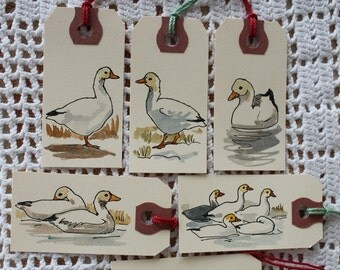 Snow Geese Gift Tags - Set of Six Hand-Painted Tags