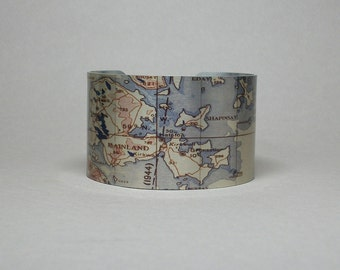 Orkney Scotland UK Northern Isles Cuff Bracelet Vintage Map Unique Travel Gift for Men or Women