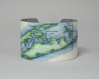 Cuff Bracelet Long Island New York Vintage Nautical Map East End Forks Montauk Point Sag Harbor Unique Gift for Men or Women