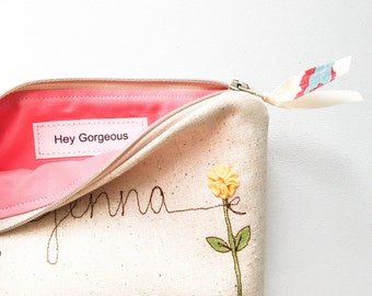 Gift for Wife, Linen Cosmetic Bag, Makeup Organizer Bag, Hey Gorgeous Cosmetic Pouch, Personalized Gift Ideas for Women, Wife Gift