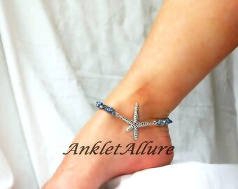 Starfish Anklet Rocky Beach Anklet Blue Starfish Ankle Bracelet