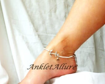 Anchor Anklet White Beach Ankle Bracelet Beach Anklet Stone Dangle Anklet Body Jewelry
