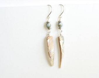 Abalone Dangle Earrings With Blue Green Bead Accents on Sterling Silver Earring Hooks