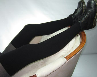 Extra Long Tall Black Thigh High Socks Leg Warmers Cotton Knit Over the Knee Sock for Women A1044