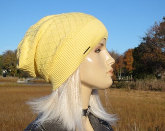 Lightweight Hats Summer Slouchy Beanie BOHO Clothing for Women Diamond Patterend Knit Yellow Cotton Slouch Tam A1699