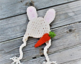 Bunny Hat with Carrot Stuffie - Baby Easter Photo Prop - Cream Rabbit Ears Hat with Carrot Toy - Easter Bunny Baby Hat - by JoJo's Bootique