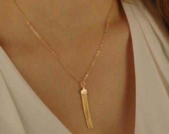 Gold Tassel Necklace, 14K Gold Filled Fringe Chain Necklace, Long Tassel Necklace