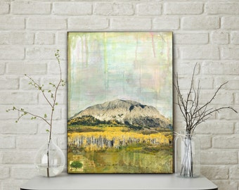 "Colorado Art, 12x16"" Original Mixed Media Art, Landscape Art, Mixed Media Photography, Mixed Media Painting, Mountain Art, ""Crested Butte I"""