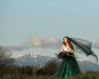 """Tulle Wedding Skirt, Any Color, """"THEA"""" White, Ivory, Blush, Grey, Blue, Green, With Train"""