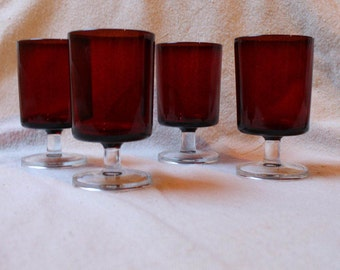 Vintage Luminarc Cavalier Ruby Red Liqueur Cordial Apertive Glasses, Set of 4