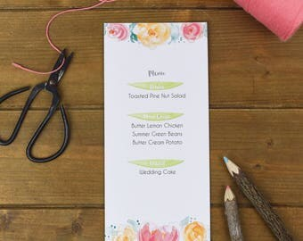Blush Floral Wedding Menu Cards - Rustic Wedding Menu - Leaves Menu Card - Rustic Spring Wedding Cards - Wedding Menu Template Cards