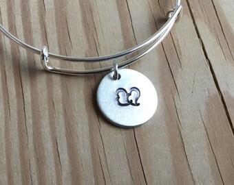 SALE- Bangle Bracelet- double heart- hand-stamped bracelet- only 1 available