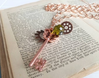 Steampunk Gypsy Necklace, Gears, Cogs, Keys, Mixed Metal Colors, Bohemian Style, Boho, Airship Pirate, Old World Jewelry