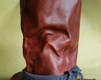Red Leather Skull Top Hat