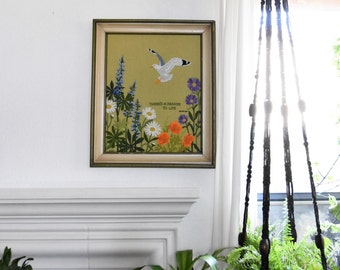 large vintage crewel daisy flower bird embroidery framed picture // cross stitch // needlepoint // wall hanging