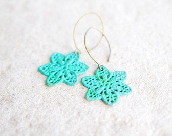 Verdigris Filigree Earrings Turquoise Blue Patina Brass Lace Flower Dangle Earrings Boho Chic Bohemian Style Verdigris Jewelry