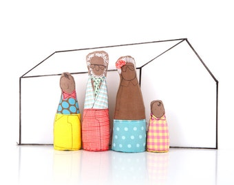 Soft sculpture family dolls for Dollhouse ,modern african grandparents & children- Yellow, pink,blue geometric clothes, 12th scale Miniature