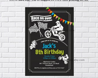 Dirt bike invitation, Motocross Birthday Invitation,  for any age, boy biker Dirt Bike Motorcycle party , 5th 6th 7th 8th 9th 10th  card 888