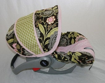 Baby Girl Infant car seat cover-dark brown background with Lacework print and pink minky -  Always comes with FREE strap Covers